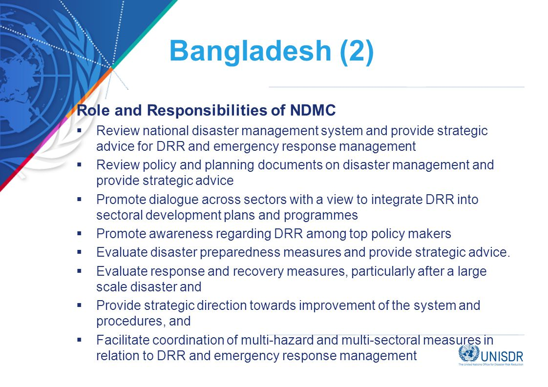 Bangladesh (2) Role and Responsibilities of NDMC