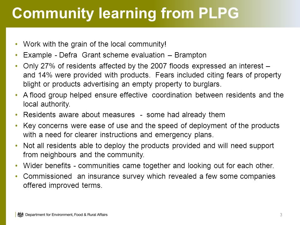 Community learning from PLPG