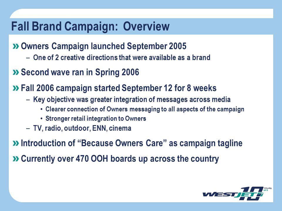 Objective Fall Brand Campaign: Overview