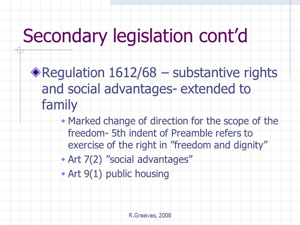 Secondary legislation cont'd