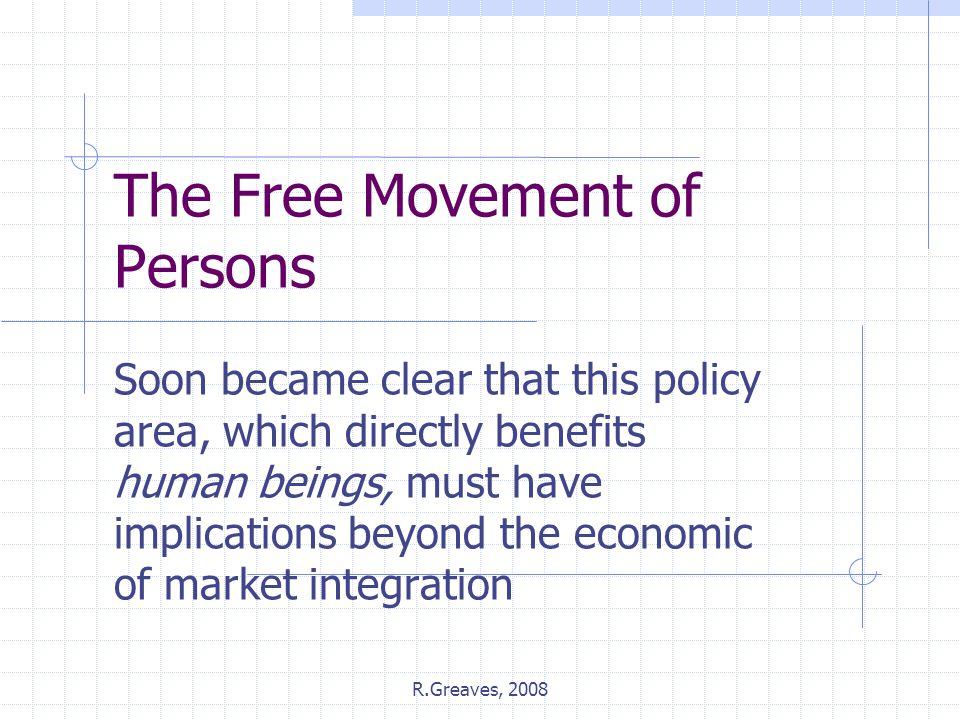 The Free Movement of Persons