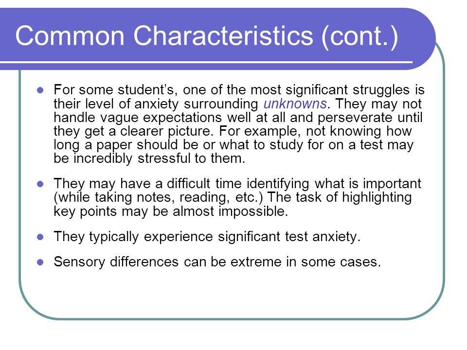 Common Characteristics (cont.)