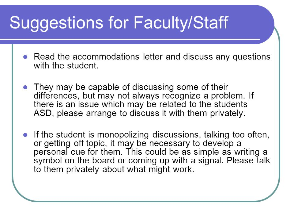 Suggestions for Faculty/Staff