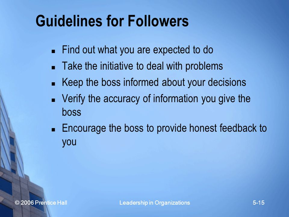 Guidelines for Followers