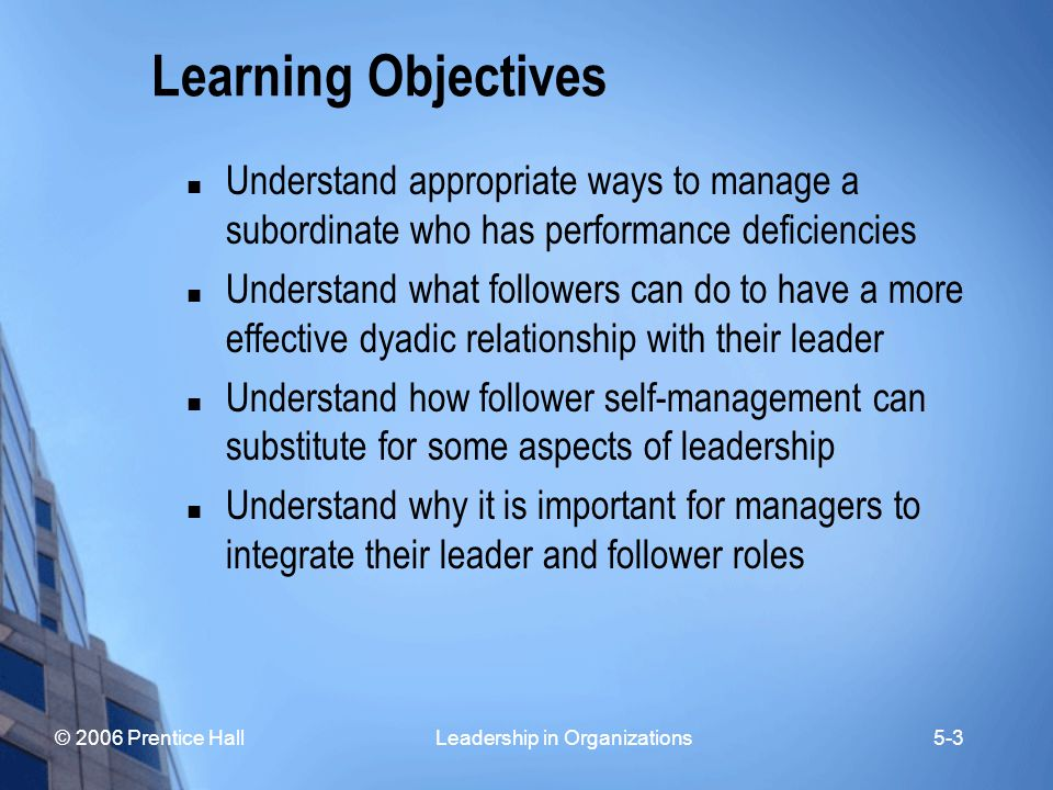 Learning Objectives Understand appropriate ways to manage a subordinate who has performance deficiencies.