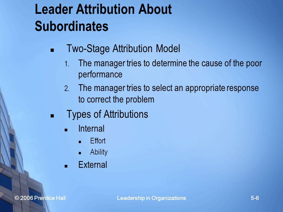 Leader Attribution About Subordinates