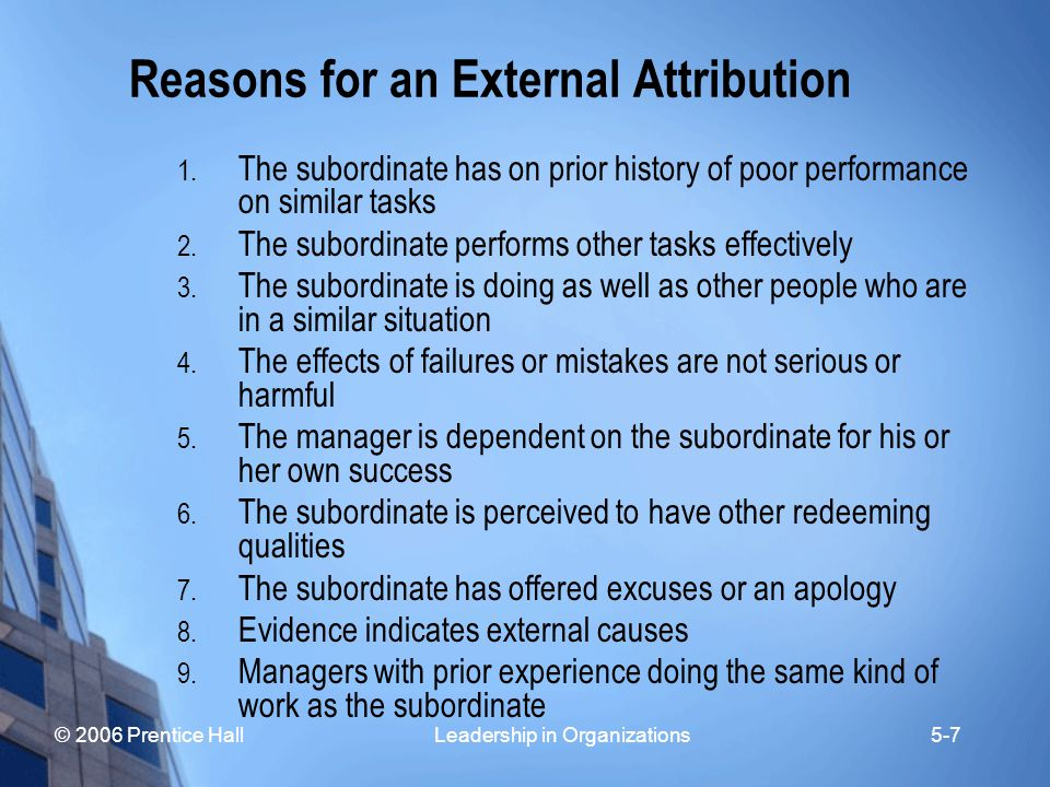Reasons for an External Attribution
