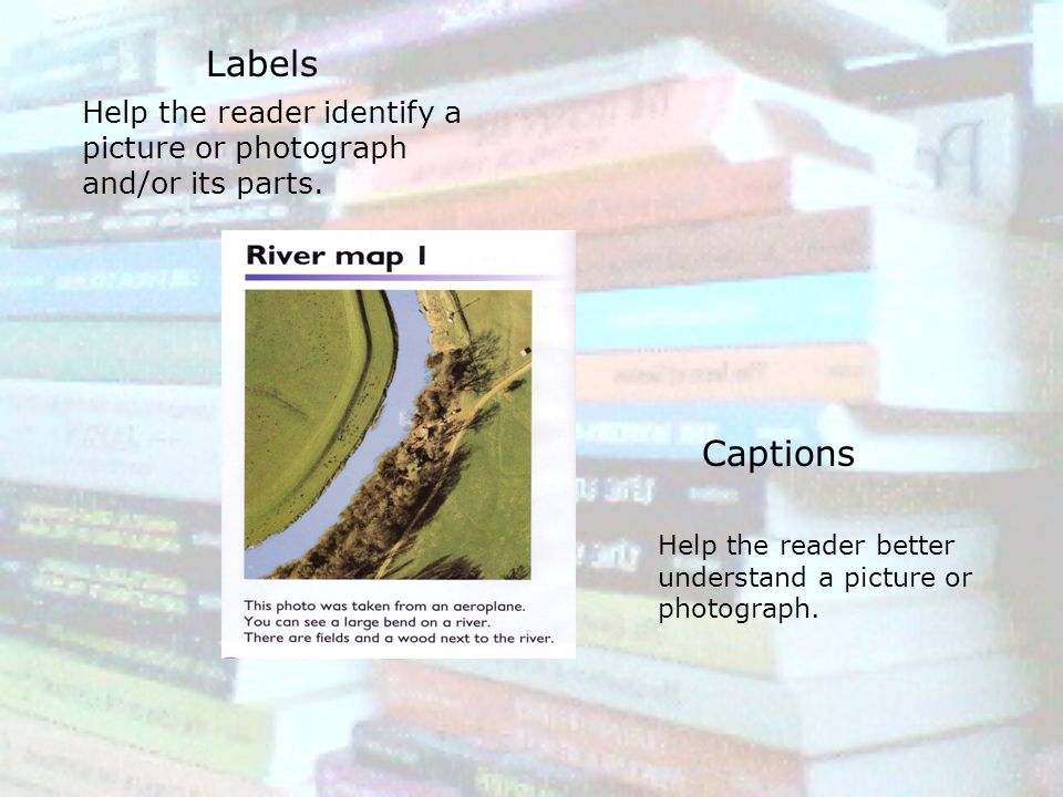 Labels Help the reader identify a picture or photograph and/or its parts.