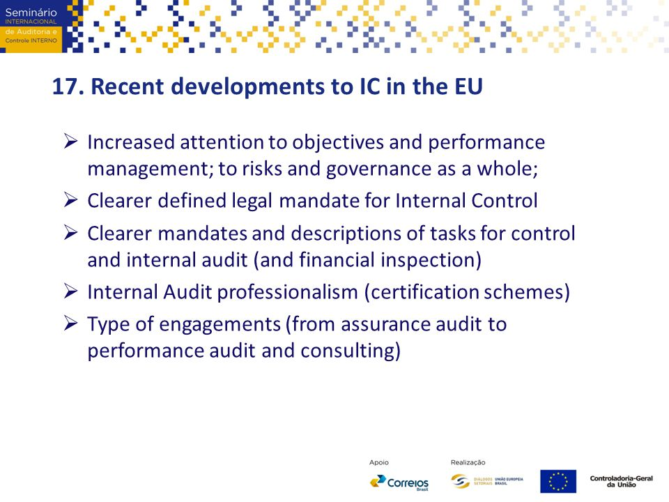 17. Recent developments to IC in the EU