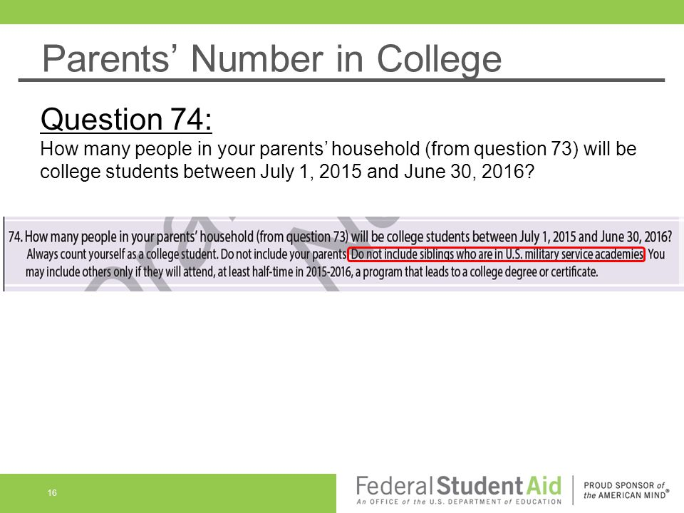 Parents' Number in College