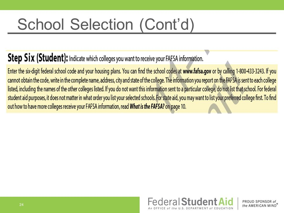 School Selection (Cont'd)