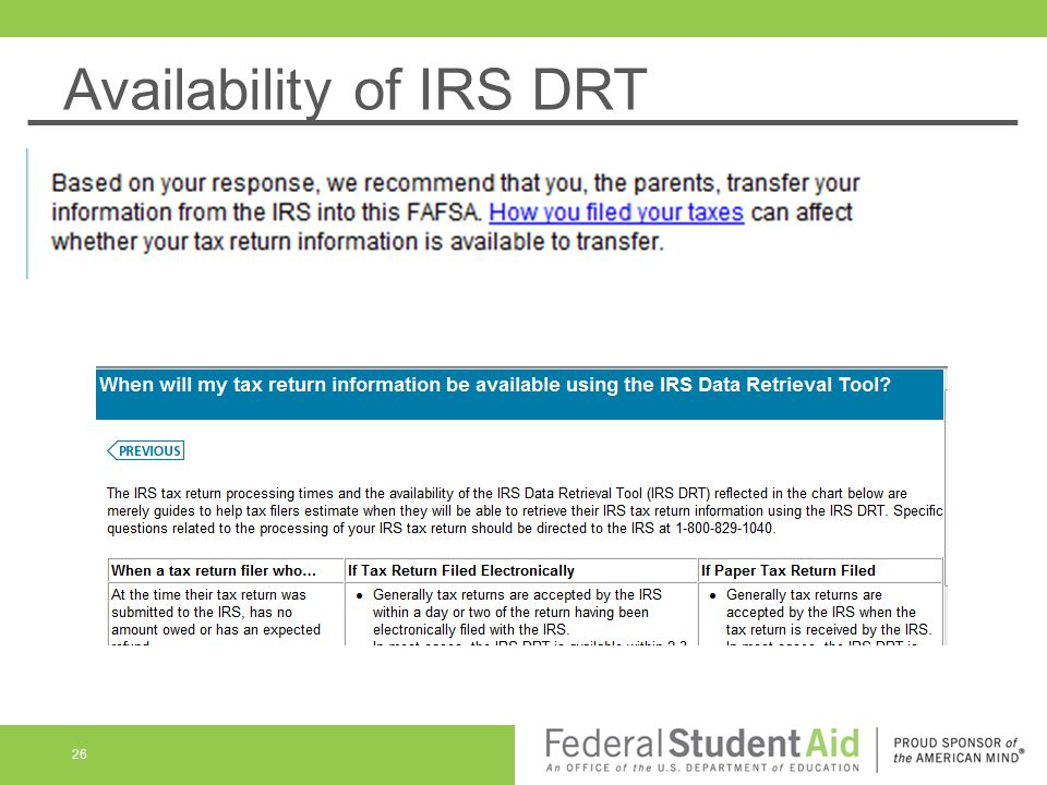 Availability of IRS DRT