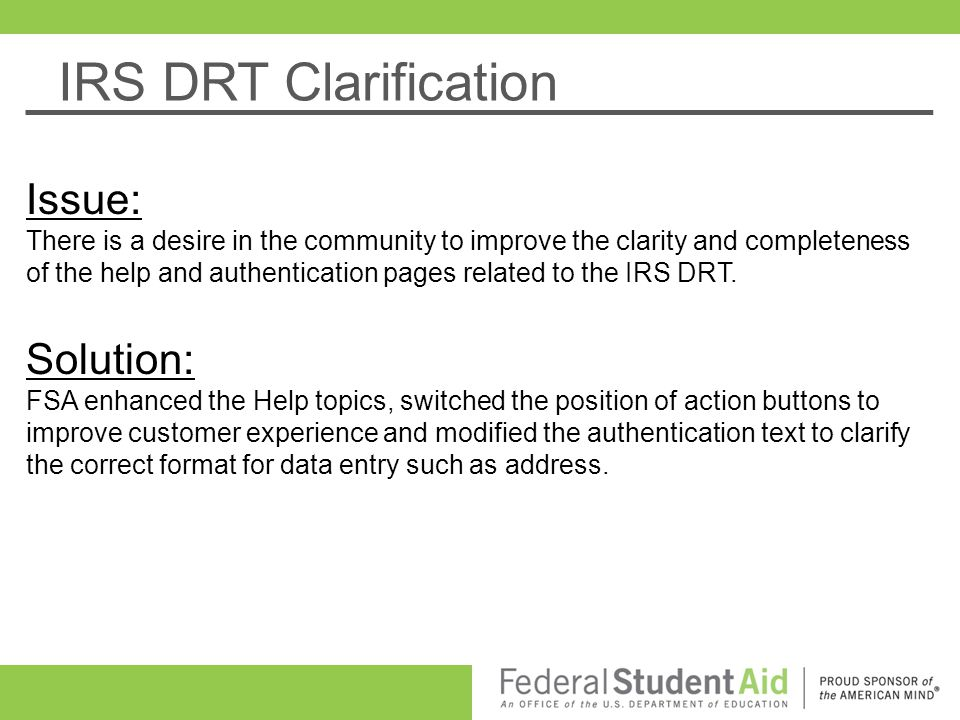 IRS DRT Clarification