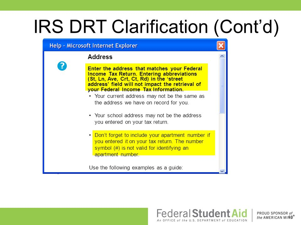 IRS DRT Clarification (Cont'd)