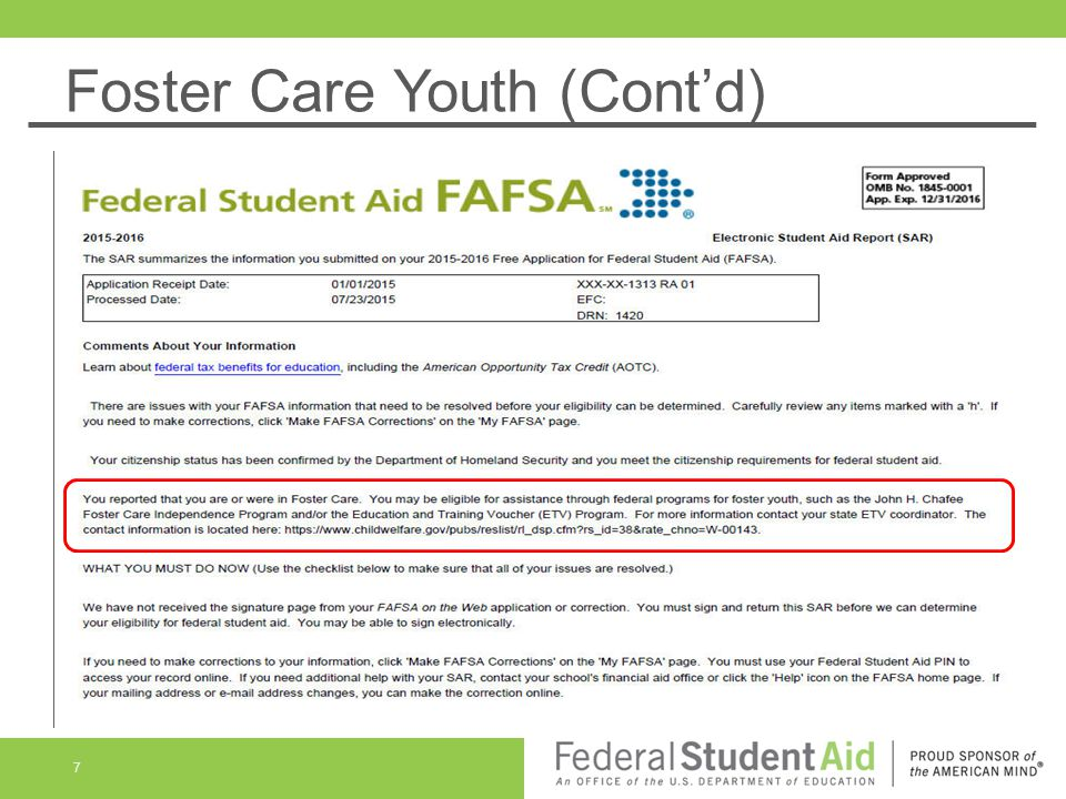 Foster Care Youth (Cont'd)