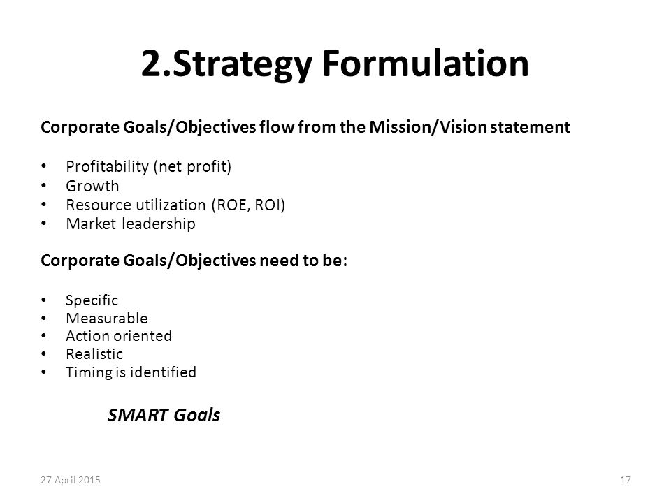 2.Strategy Formulation SMART Goals