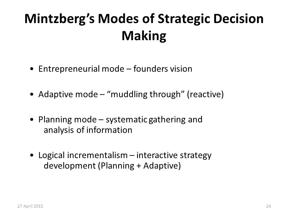 Mintzberg's Modes of Strategic Decision Making
