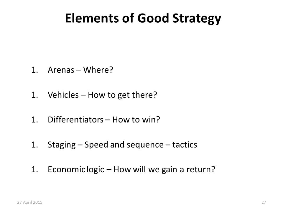 Elements of Good Strategy