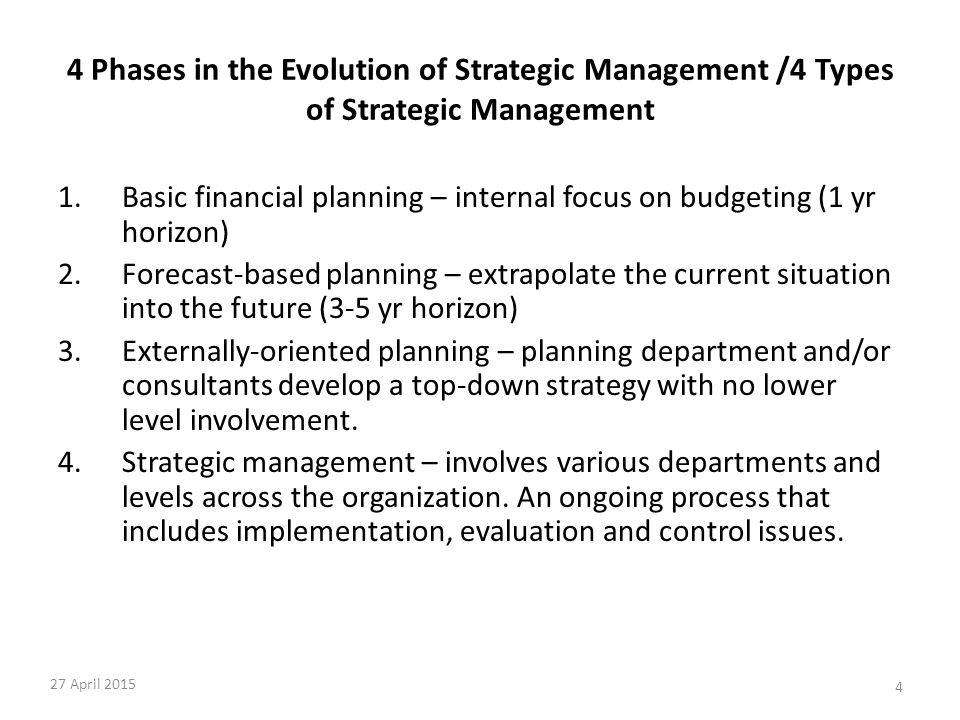 4 Phases in the Evolution of Strategic Management /4 Types of Strategic Management