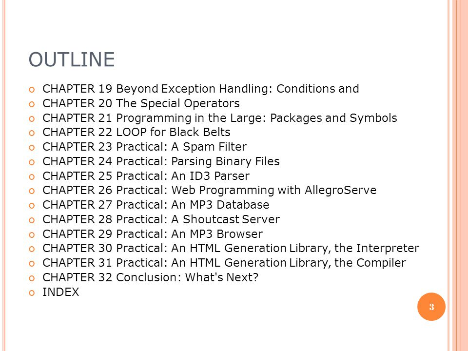Outline CHAPTER 19 Beyond Exception Handling: Conditions and