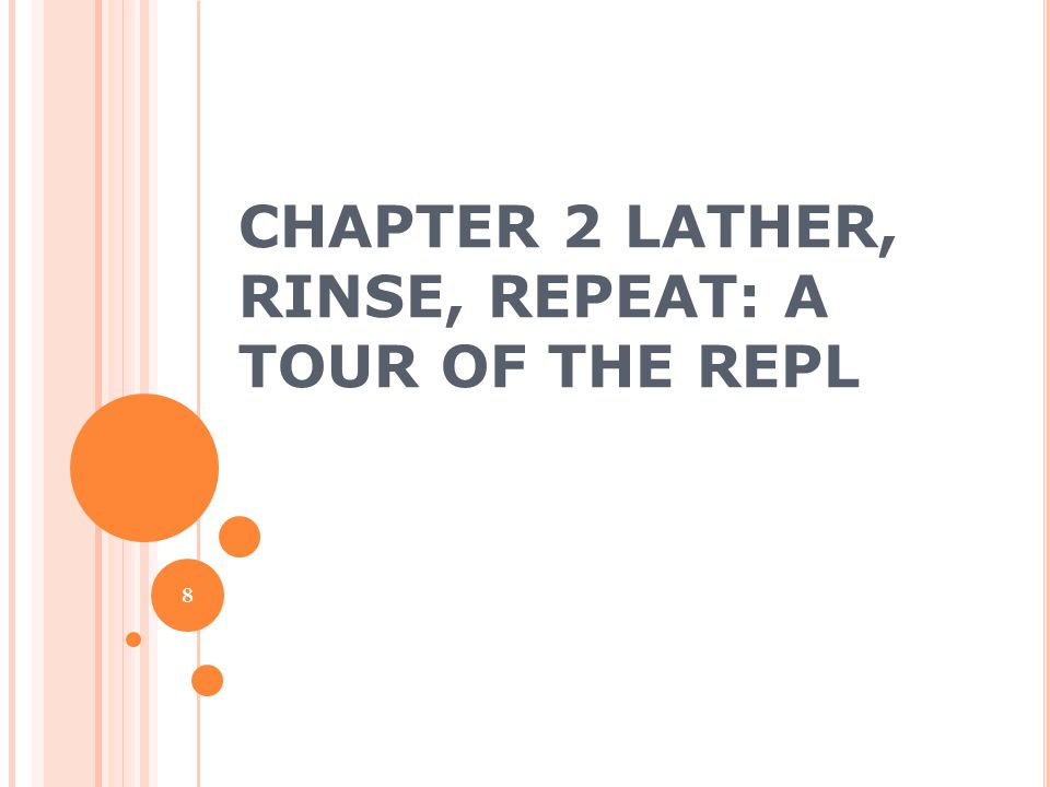 Chapter 2 Lather, Rinse, Repeat: A Tour of the REPL