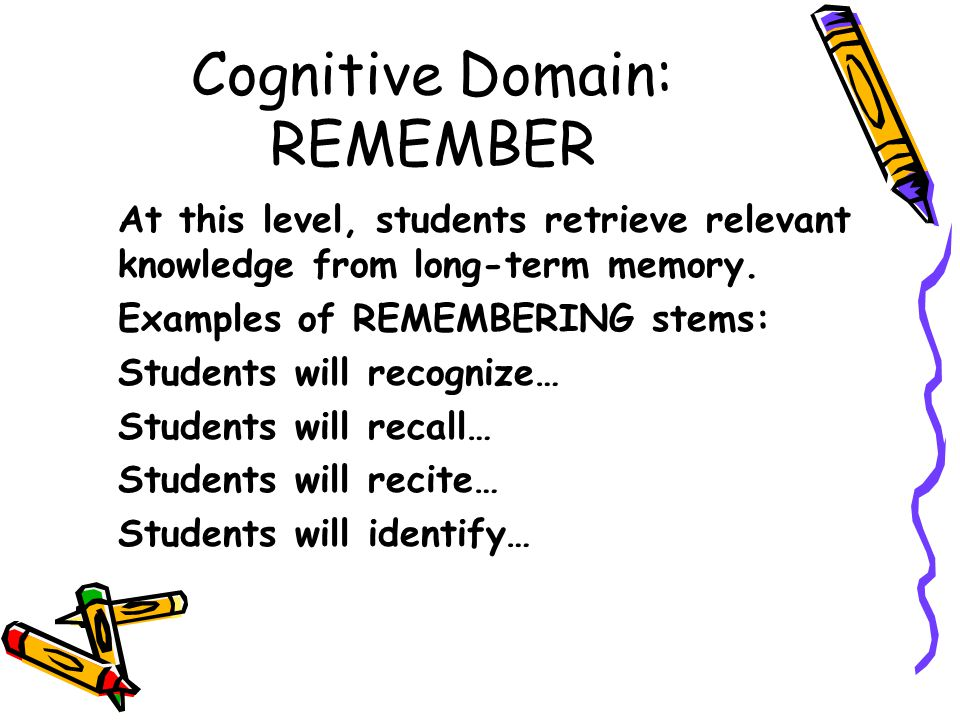Cognitive Domain: REMEMBER