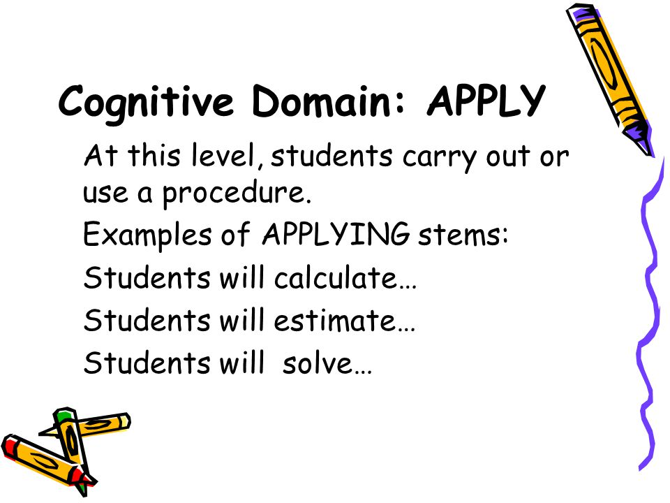 Cognitive Domain: APPLY