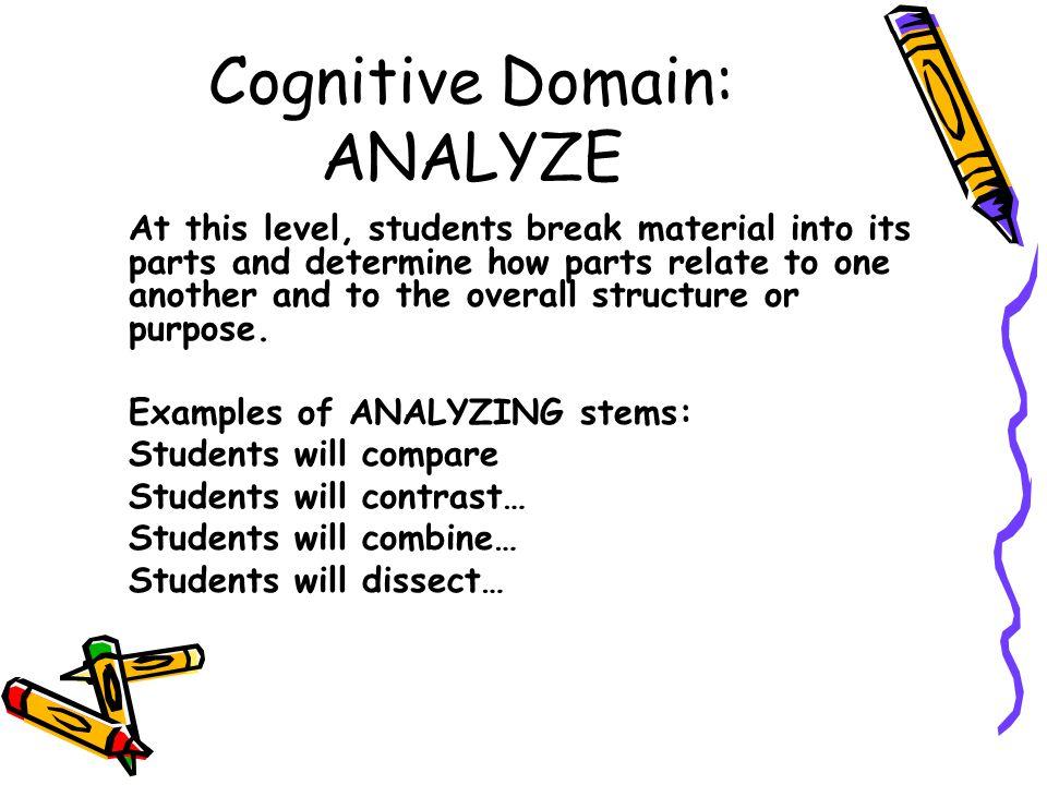 Cognitive Domain: ANALYZE