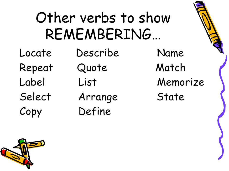 Other verbs to show REMEMBERING…