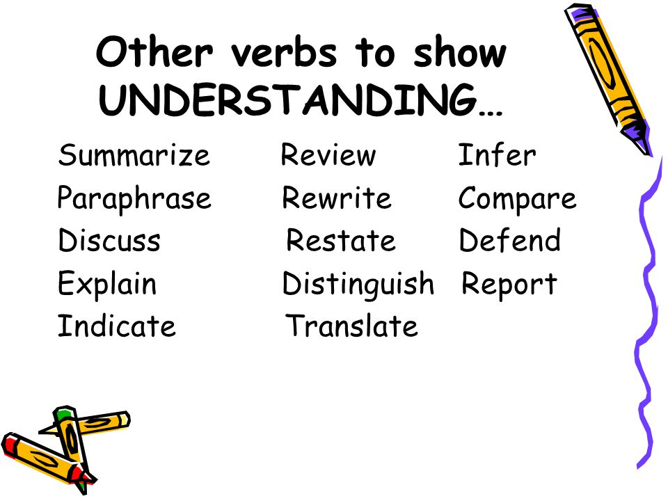 Other verbs to show UNDERSTANDING…