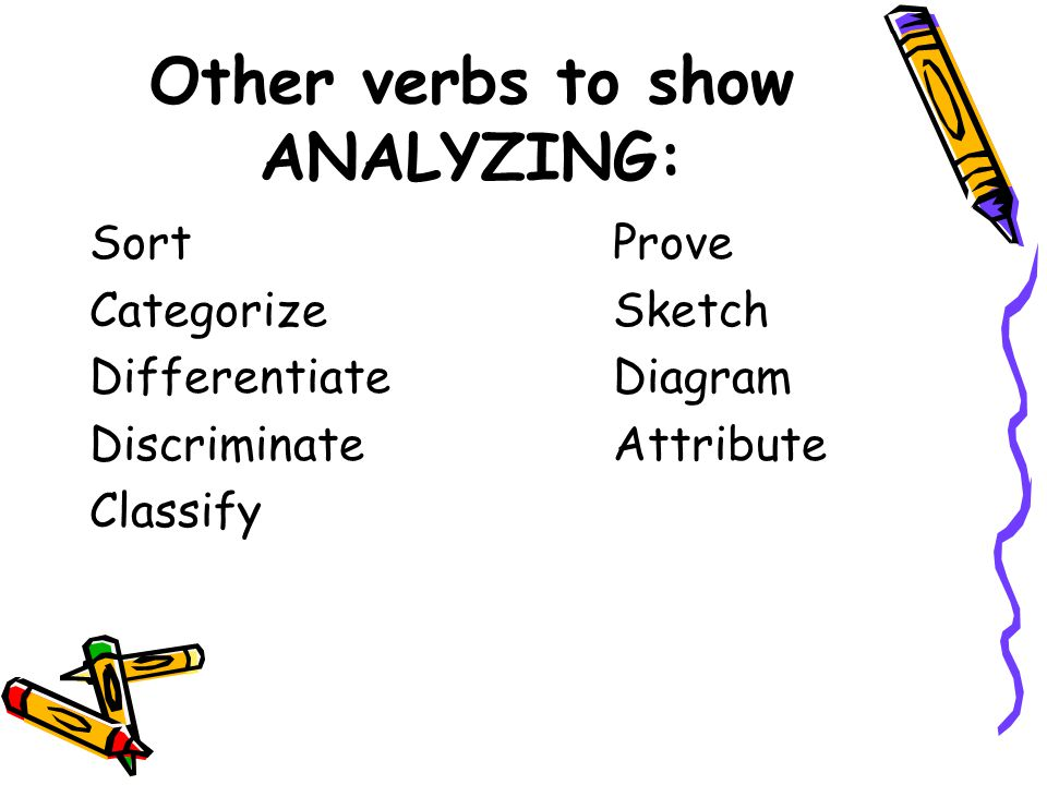 Other verbs to show ANALYZING: