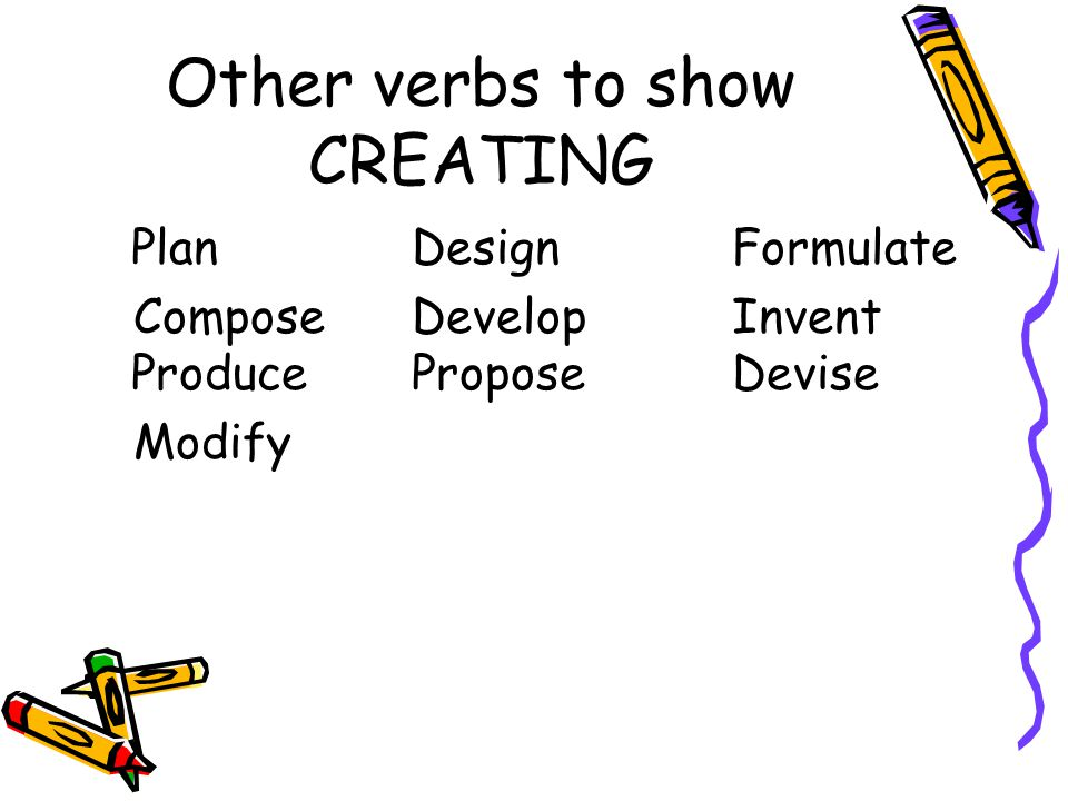 Other verbs to show CREATING