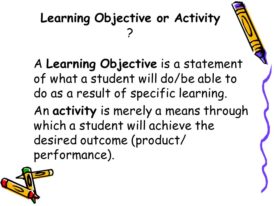 Learning Objective or Activity