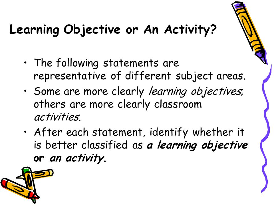Learning Objective or An Activity