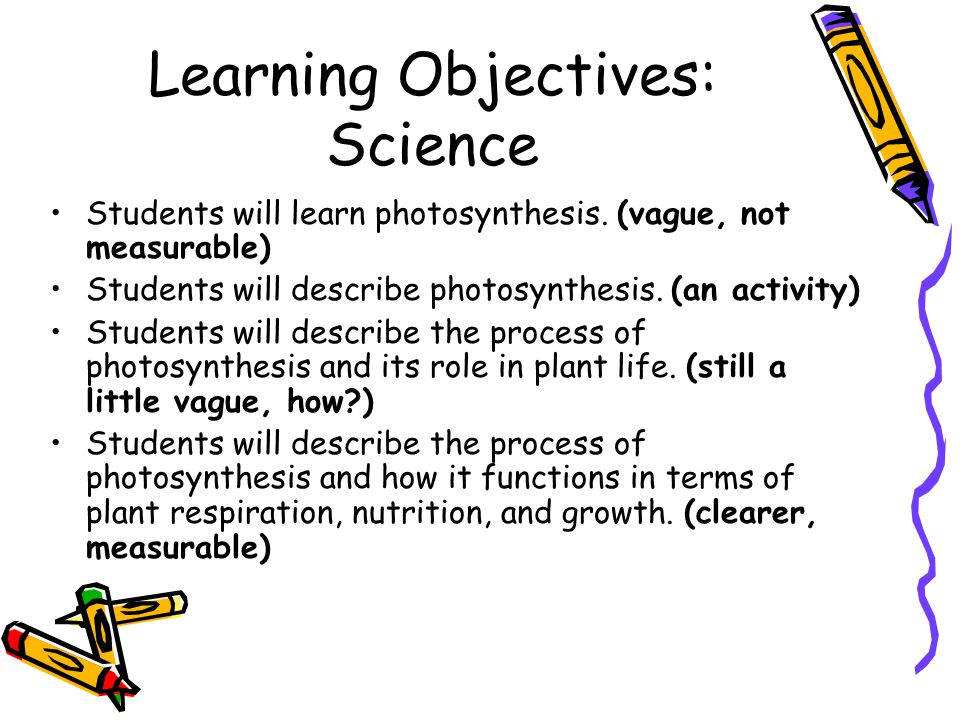 Learning Objectives: Science