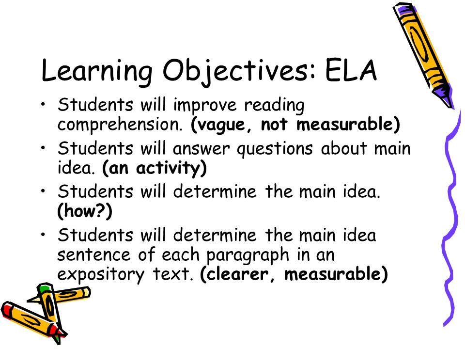 Learning Objectives: ELA