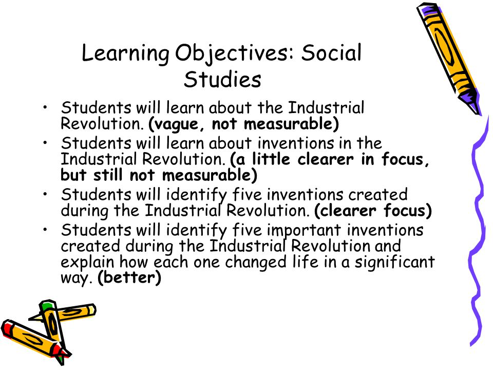 Learning Objectives: Social Studies
