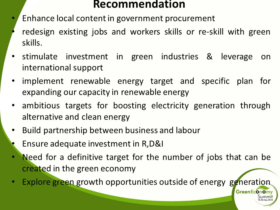 Recommendation Enhance local content in government procurement