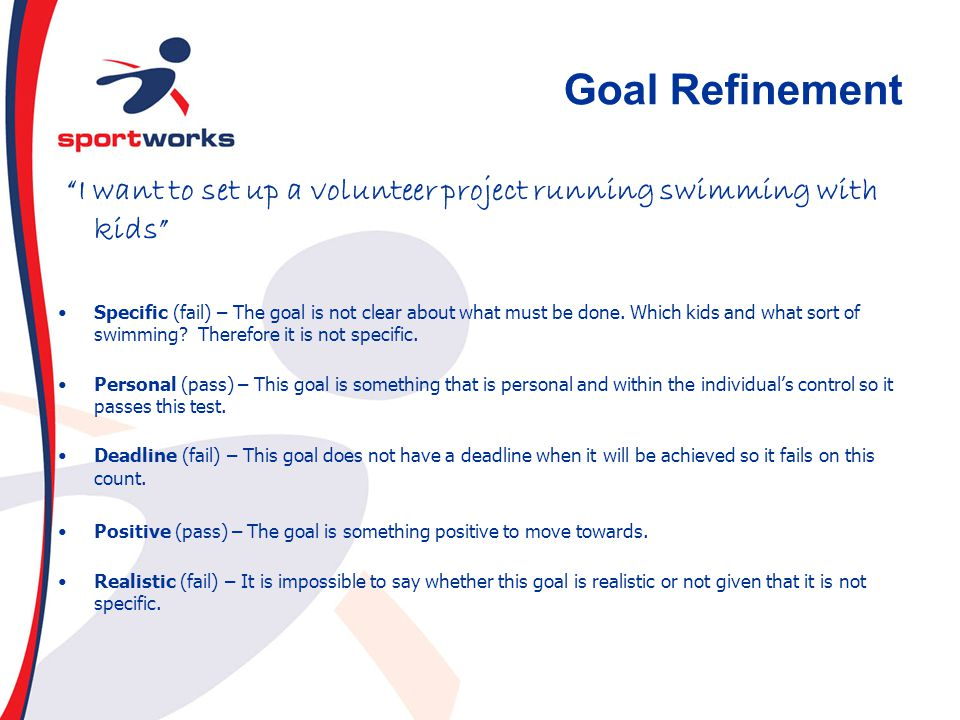 Goal Refinement I want to set up a volunteer project running swimming with kids