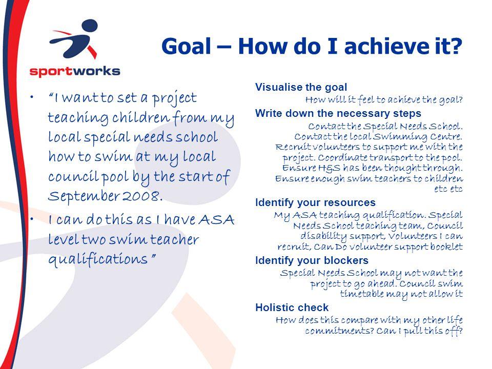 Goal – How do I achieve it