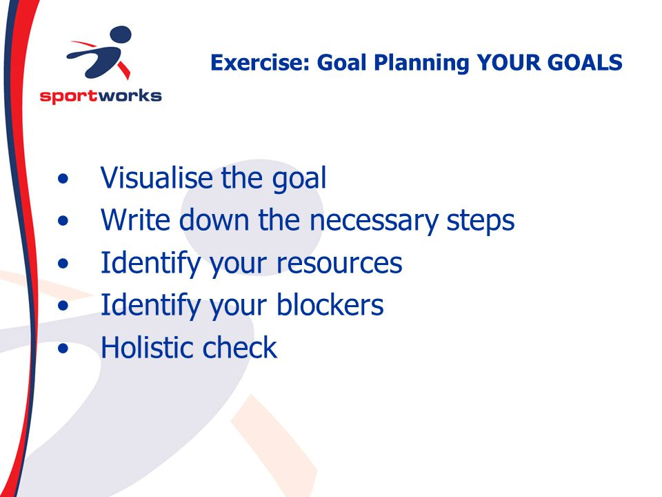 Exercise: Goal Planning YOUR GOALS