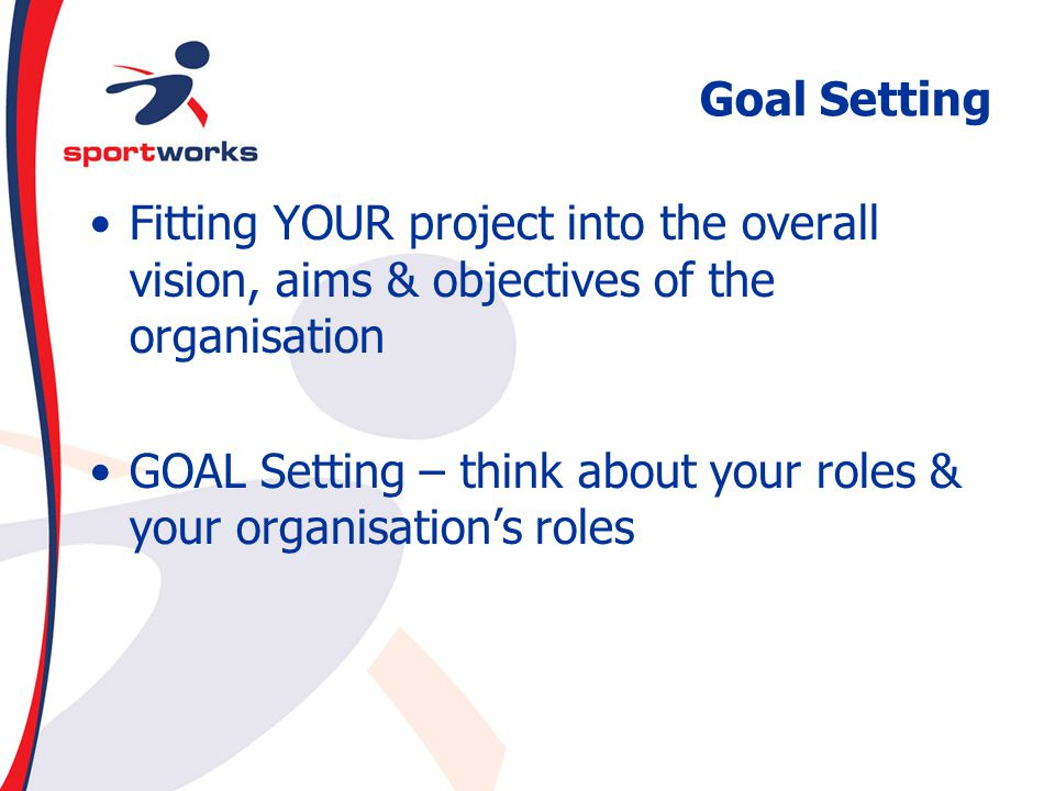 Goal Setting Fitting YOUR project into the overall vision, aims & objectives of the organisation.