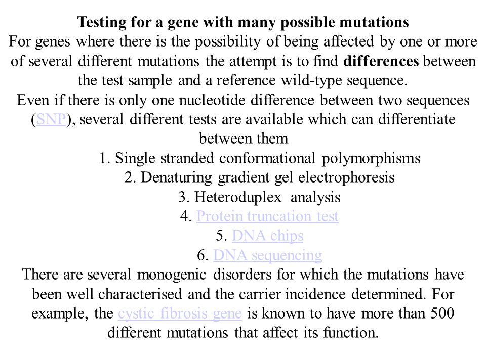 Testing for a gene with many possible mutations