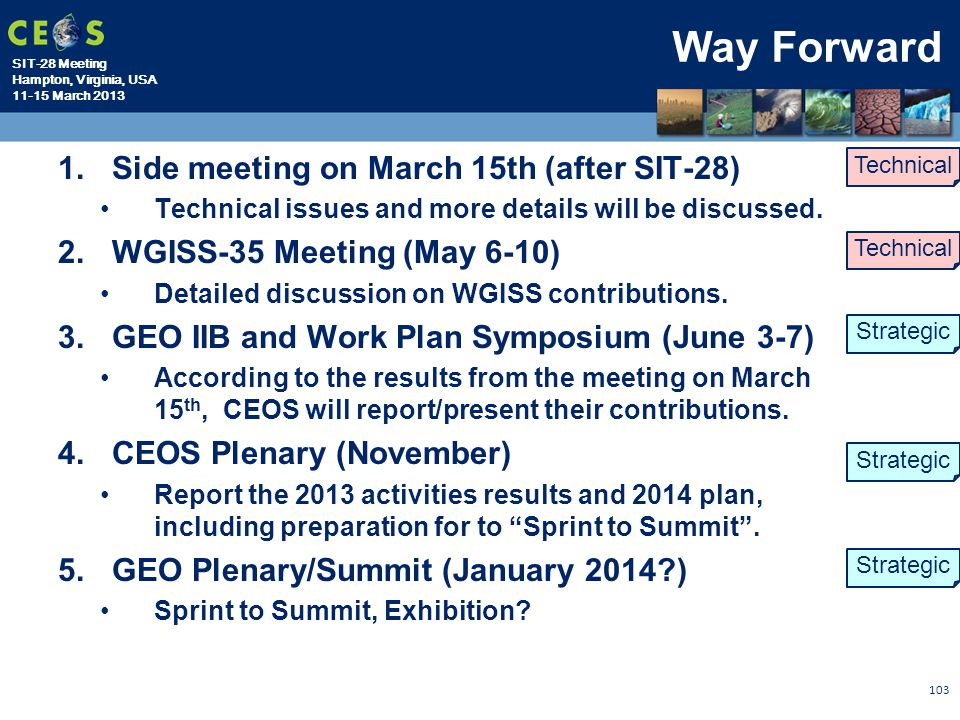 Way Forward Side meeting on March 15th (after SIT-28)