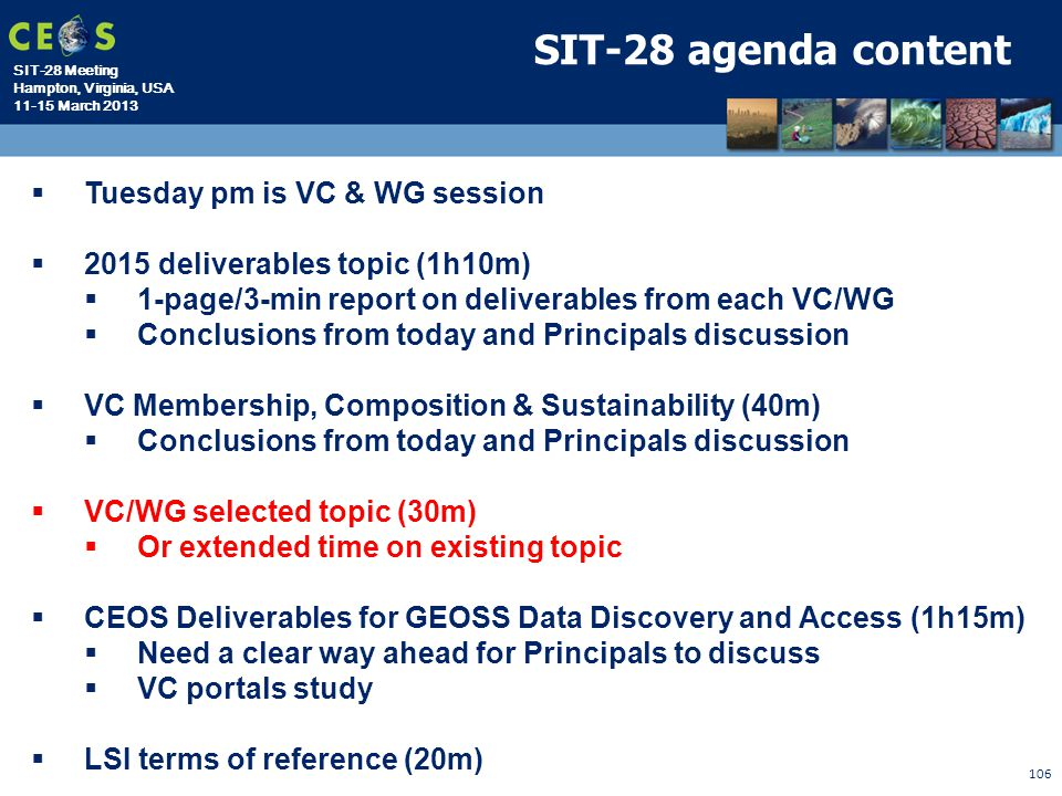 SIT-28 agenda content Tuesday pm is VC & WG session