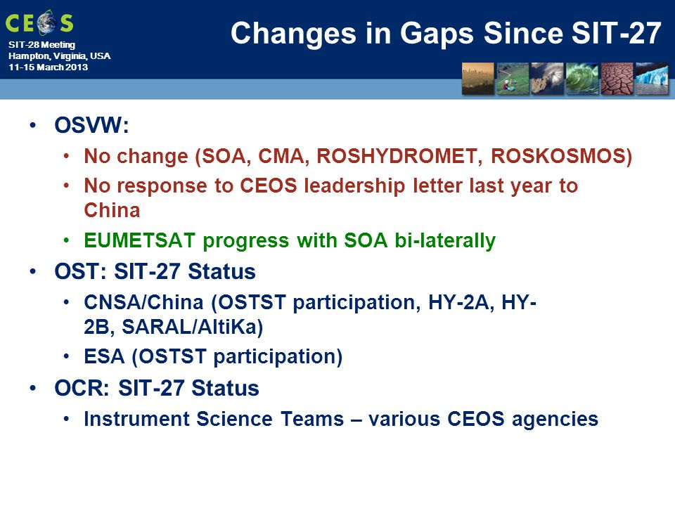 Changes in Gaps Since SIT-27
