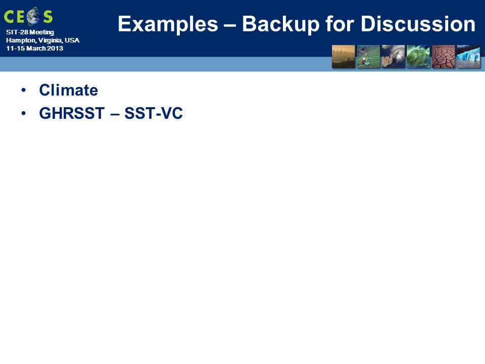 Examples – Backup for Discussion