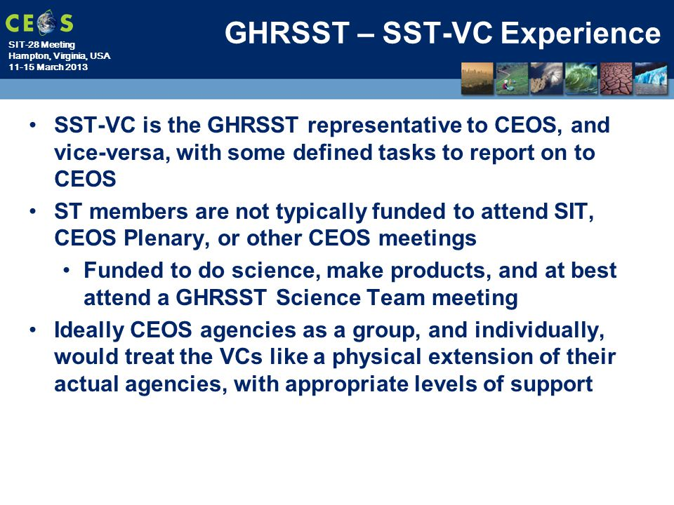 GHRSST – SST-VC Experience