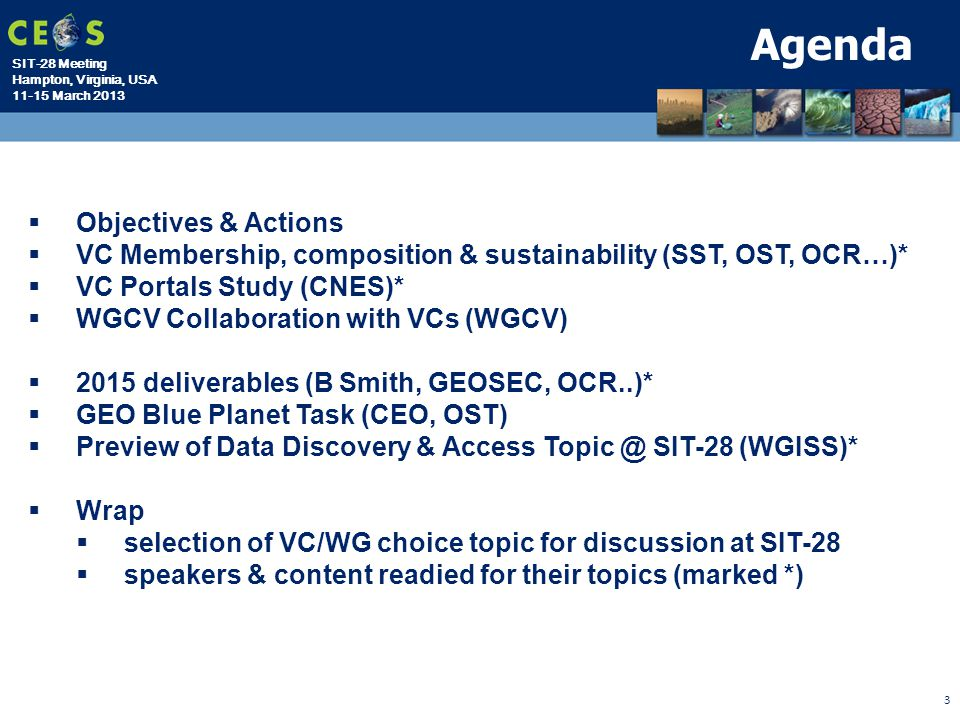 Agenda Objectives & Actions