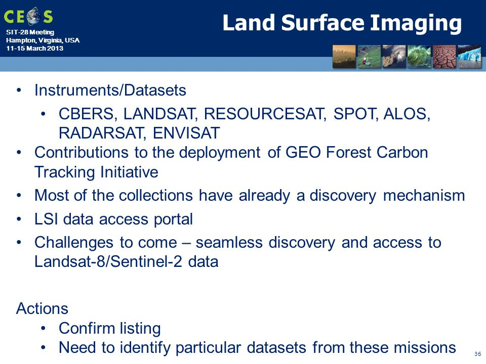 Land Surface Imaging Instruments/Datasets